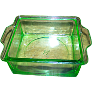 Anchor Hocking  Green Uranium Depression Glass Butter Refrigerator Dish
