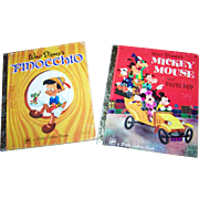 2 Vintage Children's Books Walt Disney's Mickey Mouse and Pluto Pup /   Pinocchio A Little Gol