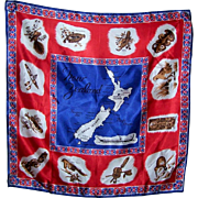 Beautiful  Collectible  Vintage Souvenir Travel Scarf New Zealand South North Island