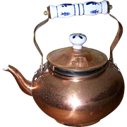 Small Copper Metal Ware Kettle Blue & White Ceramic Handle