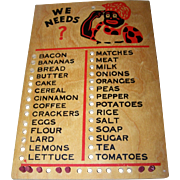 SOLD Vintage Wooden Black Americana Grocery List  Peg Board WE NEEDS
