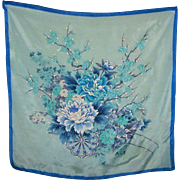 A Beautiful Vintage 100 Percent Silk Scarf Made In Japan Flowers in Cart Motif