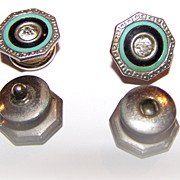 SALE Enamel & Celluloid  Rhinestone  Deco Style Snap Cuff Links