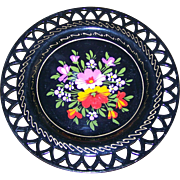 SALE Lovely Small Vintage Tin Metal Ware Hand Painted Tole Reticulated  Plate Floral