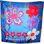 Fun Vintage Pop Art Mod Foral Ladies Fashion Scarf Acetate Made in Japan