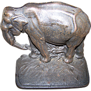 Vintage Cast Iron Door Stop Single Bookend  Figural Elephant