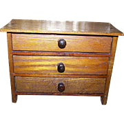 Charming Vintage Wooden Toy  Folk Art Salesman's ample Dresser Bureau
