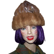 What A Stylish Vintage Mid- Century Real  Mink  Fur Hat With Ribbon