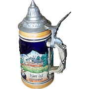 A Collectible Vintage Scenic Souvenir  Stoneware Lidded Beer Stein Tankard Western Germany