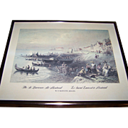 "Framed Vintage W.H.Bartlett Print 1809-1854  "" The St. Lawrence at Montreal  Le Saint Lau"