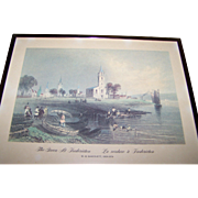 "Framed Print "" The Green At Fredericton La verdure a Fredericton ""W.H. Bartlett 1809"