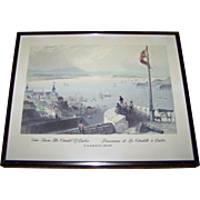 "Framed Print bt W.H. Bartlett 1809-1854  "" View From The Citadel of Quebec  Panorama de L"