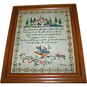 Pretty Vintage Framed Paper Print Motto Sampler  C. 1917 P.F.Volland & Co. Chicago