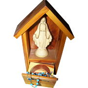 My Rosary Wood Shrine Plastic Mary Statue  Blue Glass Bead Rosary Enamel Accents France