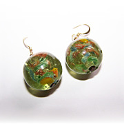 Pretty Venetian Art Glass Marble Earrings