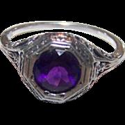 SALE Delicate Gently Worn Gypsy Set Purple Amethyst 925 Sterling Silver Filigree Ring
