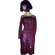1970- 80's  Designer Sequin Disco Dress Evening Wear Size 7/8 New Leaf  by ...