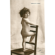 "Charming Vintage Real Photograph Post Card  "" Soon Off To Bed """