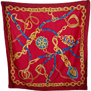Lovely Large Bridal Equestrian Horse Tack Print Scarf Red Ground