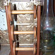 Vintage Wooden Lazy Kate 3 Bobbins Style