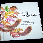 "Charming Little Children's Book ""Ten Little Squirrels "" Holt  Rinehart Winston 1970"