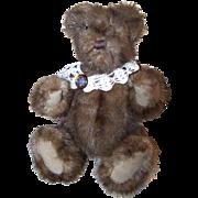 Vintage Muskrat or Mink Real Fur Jointed Stuffed  Teddy Bear