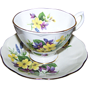 Royal Albert  England Teacup Tea Cup and Saucer Violet and Yellow Flowers