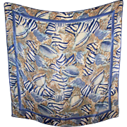 Designer Singed Vera Neumann Poly Silk Ladies Shell Themed Scarf