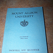 Mount Allison University Calender 1963-1964 Book Sackville NB CANADA
