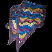 Designer Signed  Albert Nipon Silk Wing Tip  Aztec Pattern Scarf