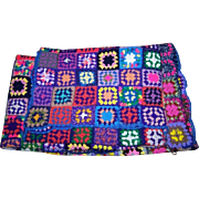 Very Large Colorful & Cheerful Crochet Crazy Quilt Style Blanket