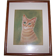 A Pretty Kitty Framed Hand Draem Colored Pastel Drawing  Wall Art