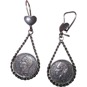 A Set of Dated 1960 A Token Of Love Earrings Bolivar 25 Centimos Silver Coins