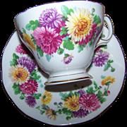 Autumn Glory Floral  Queen Anne Fine Bone China Tea Cup Saucer Set