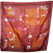Lovely Small ESPRIT Floral Ltter Themed Silk Scarf Made in Italy