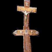 A Vintage Last Call Sick Call Last Rites Wooden  Cross Crucifix