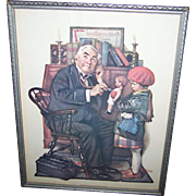 """Vintage Framed Norman Rockwell Print """"  The Doctor and the Doll """"  Curtis Publishing"""