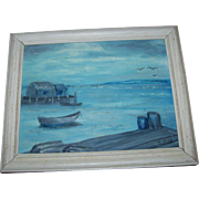 """Framed Oil Painting on Canvas Panel Titled """"Peggy's in Blue """" Artist Signed Peggy's"""