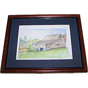 Vintage Hand Painted  Watercolor Painting of a Barn View