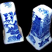Vintage Blue Willow Salt and Pepper Shaker Set Made in Japan