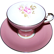 Pretty Corset Shape Pink Rose Floral Decorated Aynsley England Tea Cup Saucer Set