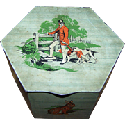 Vintage Tin Litho Advertising  Peek Frean England Biscuit Box Canister Tin   Hunting  Rabbit D