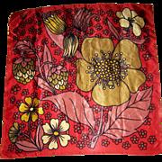 Vintage Groovy Mod Pop Art Flowers Buds Leaves  Flowering Strawberries Ladies Fashion Scarf