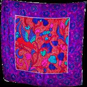 Beautiful Designer Signed Liz Claiborne 100 % Silk Scarf Floral Leaf Print