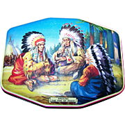 """Collectible Vintage Horner Tin Litho  Box """" Smoking the Pipe of Peace """"  Native Amer"""