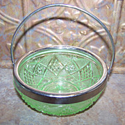 Vintage Depression Uranium  Pressed Glass Condiment Dish Bowl