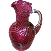Lovely Little Ruby Red Blown Glass Pitcher with Clear Applied Handle