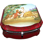 Lovely Vintage Hinged Jewelry Casket Box  Romantic Scene By F. Boucher The Musette ""
