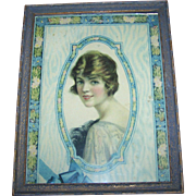 A Charming Vintage Framed Rescued Print Lovely Lady Flowers Decorative Wall Art