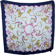 100 % Silk Scarf By Honey Rolled Edge Featuring Bows Crowns Ribbons Flower Stirrups